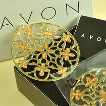 E419 Avon Goldtone & Orange Large Round Earrings Brand New in Original Box Photo