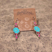 E451 Lucky Brand Vintage Style Blue Flower Earrings New on Card  Photo