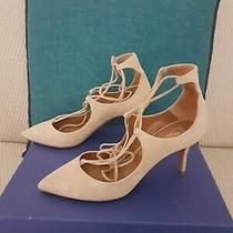 595 Auth Aquazzura Luxury Christy Pump 75 Nude Suede It 37.5 Us 7.5 Used Once Photo