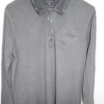 60 Guess Sz M New Mens Shirts T-Shirt Long Sleeves Solid Slim Fit Dye Polo Neck Photo