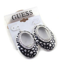 E659 Guess Vintage Style Clear Rhinestone Oval Earrings New on Card Photo