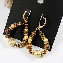 E695 h&m Vintage Style Brown Beaded Earrings New on Card Photo