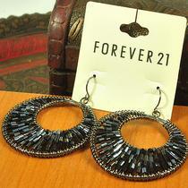 E73 Forever 21 Dark Blue & Black Bead Round Earrings Brand New on Card Photo