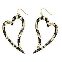 E819 Guess Goldtone & Black Heart Shape Clear Rhinestone Earrings New With Tag Photo