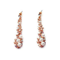 E822 Guess Rose Gold With White Bead Long Stud Earrings Brand New on Card Photo