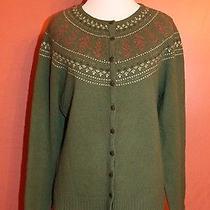 Eagle's Eye Women's Cardigan Sweater Green Size L 100% Lambs Wool Photo
