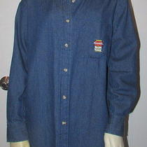 Eagles Eye Campbel's Soup Long Sleeves Blue Denim Shirt Oxford Blouse Women Sz S Photo