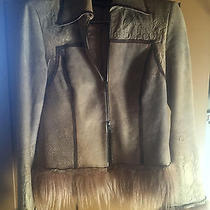 Early 1990's Roberto Cavalli Embossed Leather Suede Coat Jacket W/fur Detailing  Photo