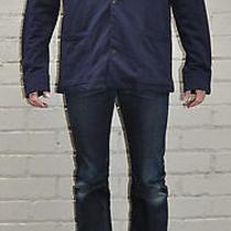 Earnest Sewn Blue Indigo Cotton Button Front Barn Jacket 4 Photo