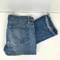 Earnest Sewn Women's Jeans Cotton Stretch Straight Distressed Low Rise Size 26 Photo
