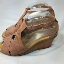 Earth Curvet Pink Blush Suede Wedge Sandals 6.5 Photo
