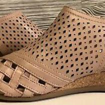 Earth New Dusty Blush Leather Peep Toe Padded Cork Wedge Booties Sandals Size 8 Photo