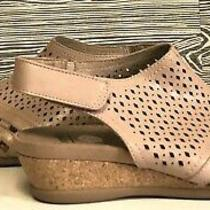 Earth Nwt Dusty Blush Leather Peep Toe Padded Cork Wedge Booties Sandals Size 8 Photo