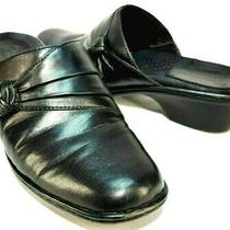 Earth Origins Addison Black Leather Flat Mules Women's Size Us 9 M Photo