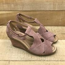 Earth Womens Curvet Blush Ankle Strap Sandals Suede Wedge Heel Peep Toe Size 7 B Photo