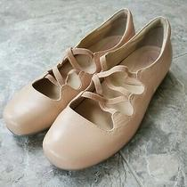Earthies Clare Blush Pink Leather Ballet Flat Slip on Criss Cross Strap Size 8.5 Photo
