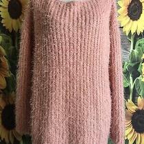 Easel Oversized Soft Fuzzy Sweater - Blush/rose Size S/m Photo