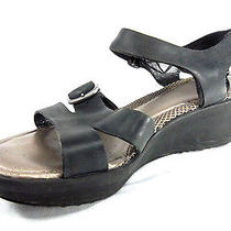 Easy Spirit Womens Sandals Charisma Black Silver Leather 10m Strappy Wedge Photo