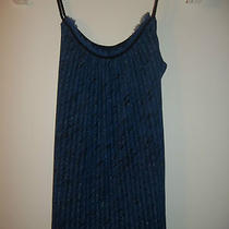 eb) Express Blue Silver Thin Nylon Knit Tank Top Cami Tie Waist Loose Fit Xs 0 2 Photo