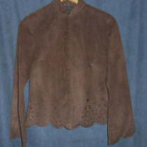 Ec the Limited Women Sz S 4 6  Dark Brown Micro Suede Hook & Eye Dress Shirt Top Photo