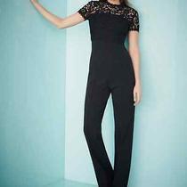 Ecada Black Lace Trim Bodice Short Sleeve Jumpsuit Size 6 Crew Round Neck  Photo