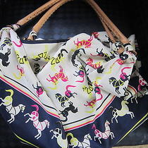 Echo Anthropologie Carousel Horse Pony Scarf Tote Hobo Shoulder Bag Rare Photo