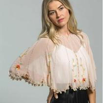 Echo Sequin Beaded Scalloped Edge Floral Women's Capelet Shawl-Pink/blush - Os Photo