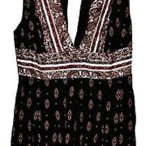 Ecote Urban Outfitters Plunge Sleeveless Black Romper W White & Pink Design Sz 2 Photo