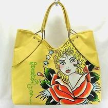 Ed Hardy 1971 Veronica Yellow Large Tote Bag / Shopper New Photo