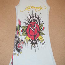 Ed Hardy Baby Blue Aqua Authentic Tunic Tank Top Cotton Ribbed Rose One Size S M Photo