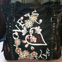 Ed Hardy Black Gorgeous Ex-Large Studded Shopper Gym Travel Tote Bag Purse N Cap Photo