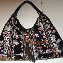 Ed Hardy Black W/multi-Color Floral & Skull Pattern Medium Purse Bag W Tassel Photo