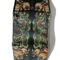 Ed Hardy Christian Audiger Ladies Wallet Trifold Flames and Lady Print Photo