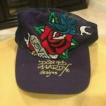 Ed Hardy Christian Audigier Purple Love Bird Rose Hat New Photo