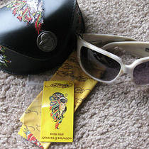 Ed Hardy Cool Geisha & Dragon Tattoo Jeweled Frame Sunglasses New in Case Nwot Photo