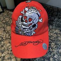 Ed Hardy Embroidered Skull Mesh Trucker Snap Back Hat by Christian Audigier Red Photo