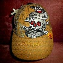 Ed Hardy- Hat/cap Says Do-or-Die W/ Death Head in Color Gold and Silver Nwt Photo