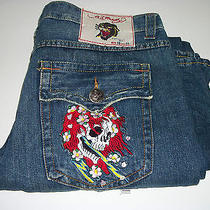 Ed Hardy Jeans Row 36 Seat 33 Vintage Tattoo Wear Skeleton  Photo