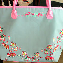 Ed Hardy Large Blue Tote Nwot Photo