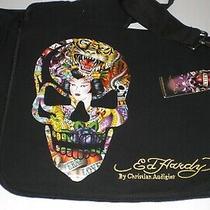 Ed Hardy Leo  Messenger/ Computer Crossbody Bag -Skull Nwy Black Photo