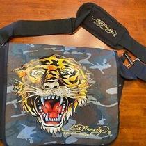 Ed Hardy Leo Tiger Messenger Bag Black Crossbody Canvas Unisex Camo Satchel Photo