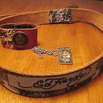 Ed Hardy Lot Leather Lg Christian Audigier Belt Bracelet Cuff Dog Tag Necklace Photo