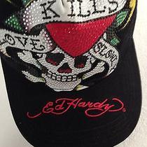 Ed Hardy Love Kills Slowly Black Platinum Hat With Rhinestones New With Tags Photo