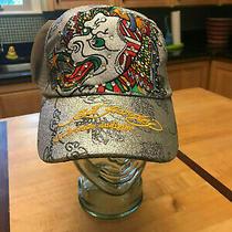 Ed Hardy Nwt Trucker Hat Bling Glitter Silver Dragon Adjustable Tattoo Photo