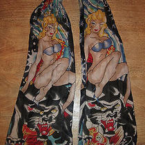Ed Hardy Pin Up Girl Koi Fish Black Panter Long Cotton Scarf 13x84