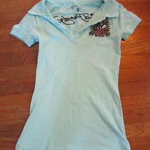 Ed Hardy Polo Shirt Aqua Blue Top Size Small 3 Button by Christian Audigier Photo