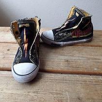Ed Hardy Pure Mayhem Lightening Bolt & Skulls Kids Shoes Size 3 Slip Ons Photo