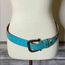 Ed Hardy S Turquoise Leather Distressed Belt Photo
