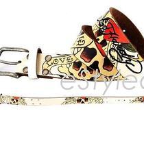 Ed Hardy Skull Love Slowly Leather Belt White/rhinestones Size M Eh3134 Nwt Photo