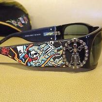 Ed Hardy Sunglasses Ehs 044 Live to Ride Sunglasses W Embroidered Case Black  Photo